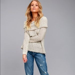 BB DAKOTA OFF THE SHOULDER BEIGE SWEATER